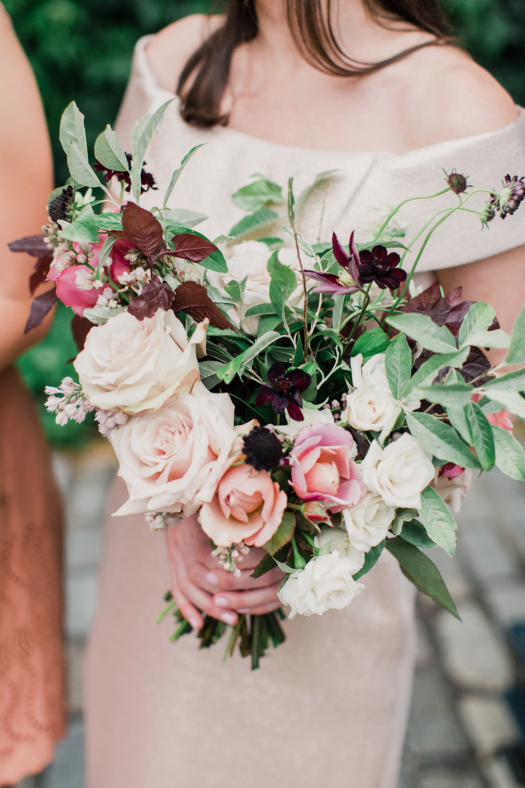 Blush, dusty pink and oxblood floral bouquet