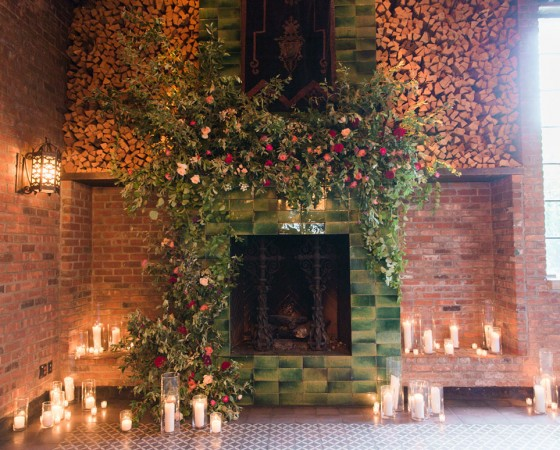 bowery hotel, nyc wedding, bowery, lower east side, bride, ceremony, wedding ceremony, installation, floral installation, fireplace, candles, romantic wedding