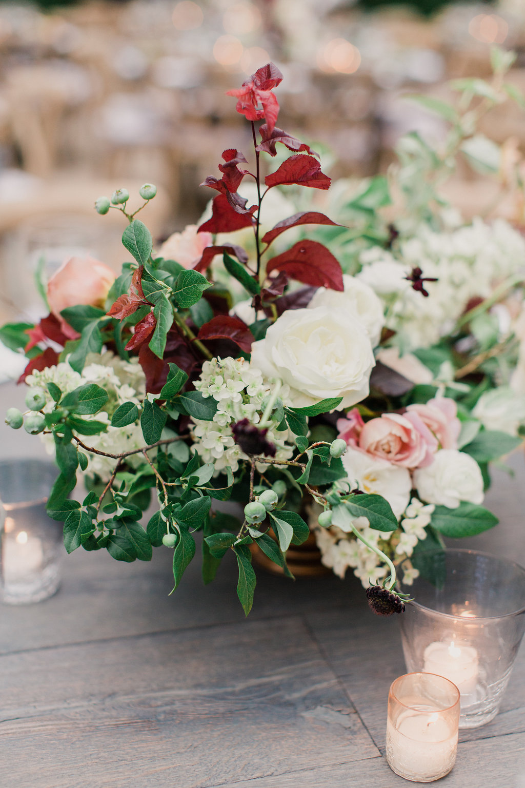 floral centerpiece, blush, dusty rose and oxblood