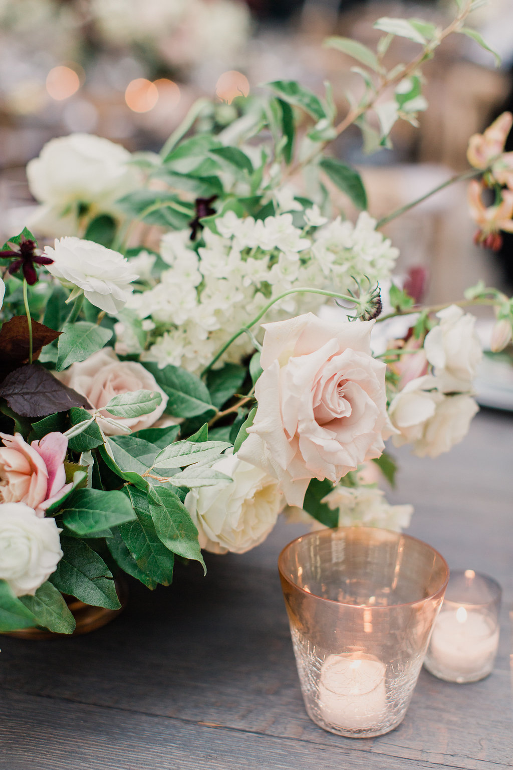 wedding florals, blush, dusty rose colors